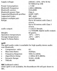BoomBoom90 Technical Specifications