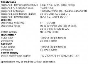 Giga View 811 Technical Specifications